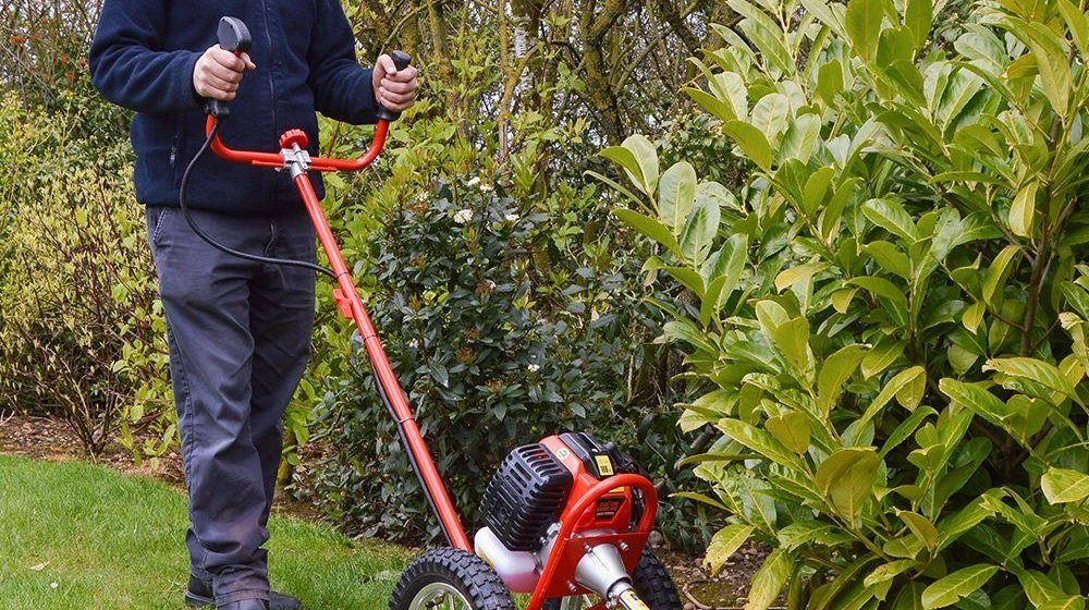 petrol grass trimmers with wheels