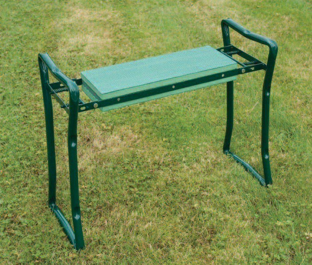 kneeler seat being used in a large garden